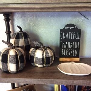 Fall Decor Set Black White Buffalo Plaid Pumpkins